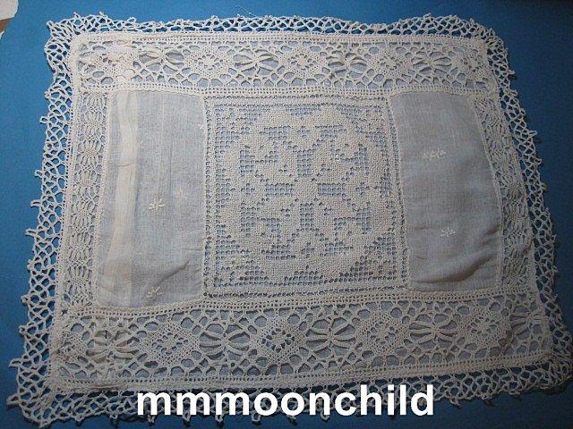 Vintage lace pillow case Edwardian era early 20th century