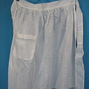 Vintage apron fancy w lace insertion Early 20th century