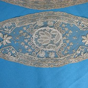 Antique Victorian doily set 3 Embroidered net
