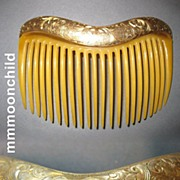 Antique hair comb Victorian w 14K Gold top