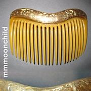 Antique hair comb Victorian w 14K Gold top