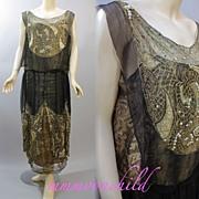 Vintage beaded flapper dress metallic lace 1920s