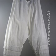 Antique Victorian Pantaloons White Cotton HM12