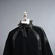 Antique cape caplet Victorian era velvet w jet beading