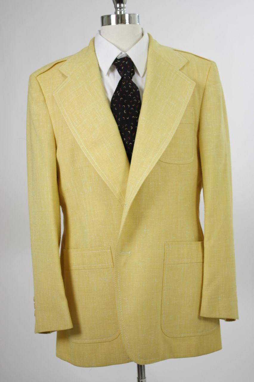 Vintage 60s 70s mens Jacket Yellow Wide Lapel