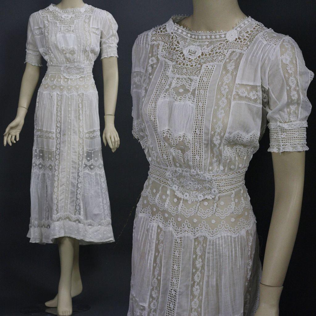 Antique victorian edwardian tea dress gown fancy lace for Vintage victorian wedding dresses