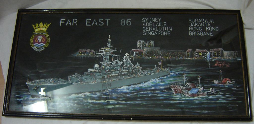 H.M.S. SOUTHLAND  - Original Acrylic on Fabric Painting - Teo.C.S. Singapore 1986
