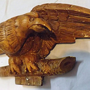 Hand Carved Wooden Eagle