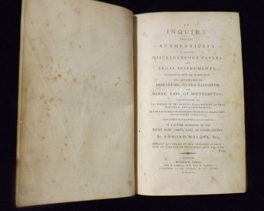 SHAKESPEARE 'An Inquiry into The Authenticity of Certain Miscellaneous Papers' - Malone  1796