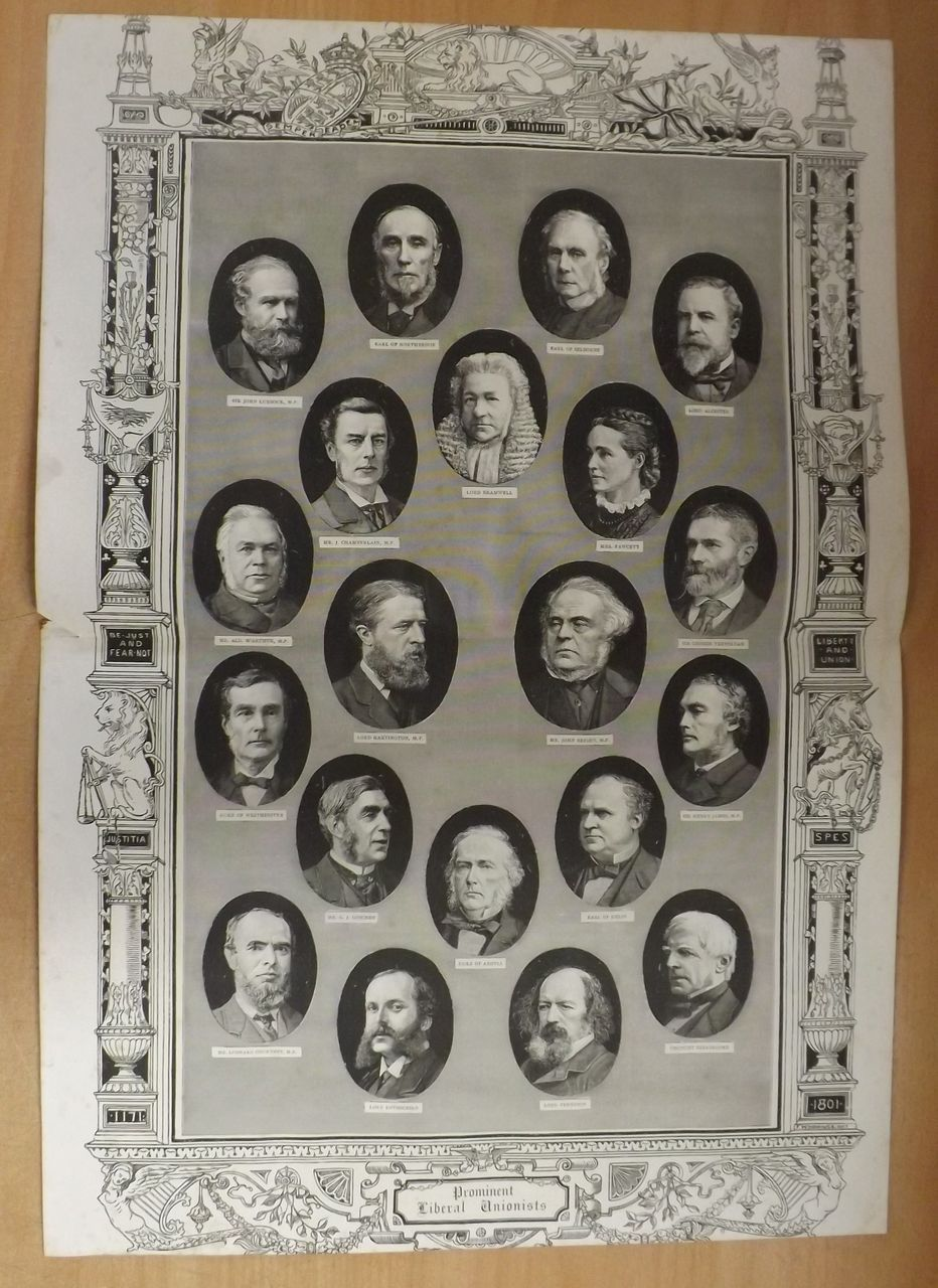 Prominent Liberal Unionists - The Graphic FulL Double Page 1887