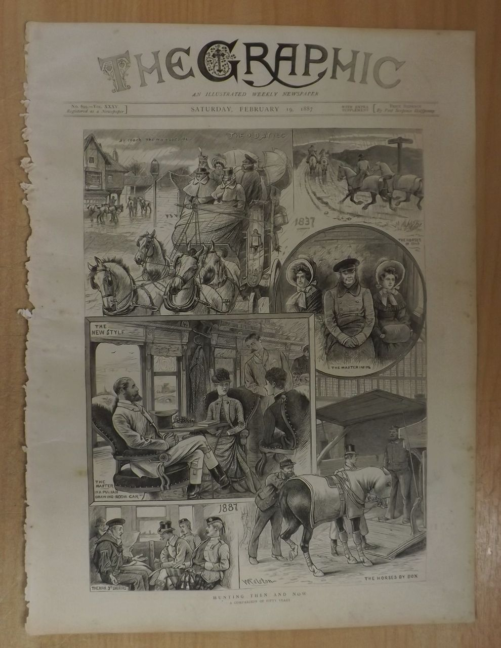 Hunting Then And Now - Full Page The Graphic 1887