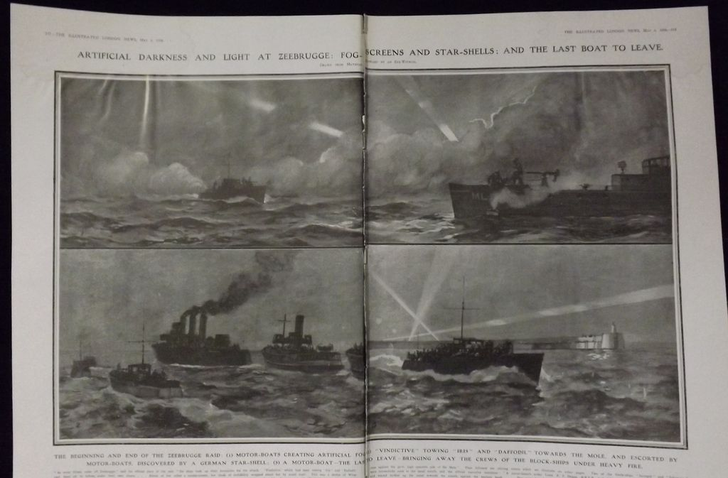 WWI 'The Zeebrugge Raid - Illustrated London News 1918