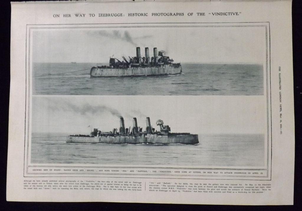 WWI -H.M.S. Vindictive -London Illustrated News 1918
