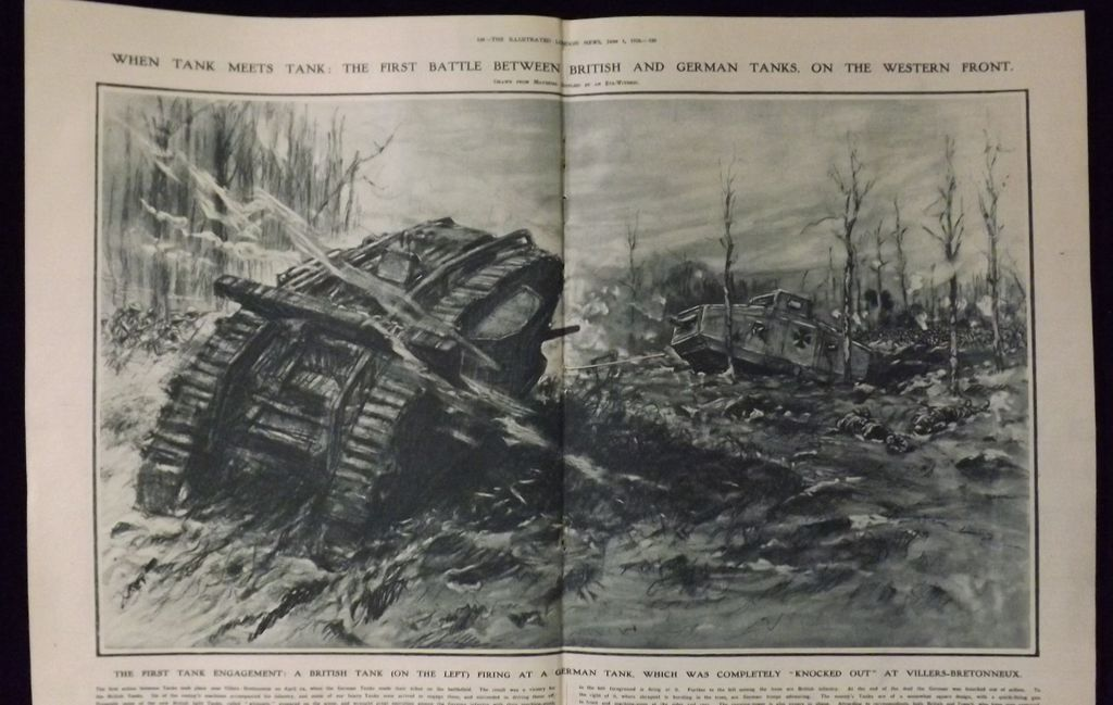 WWI - Tank Battle Western Front - Illustrated London News 1918
