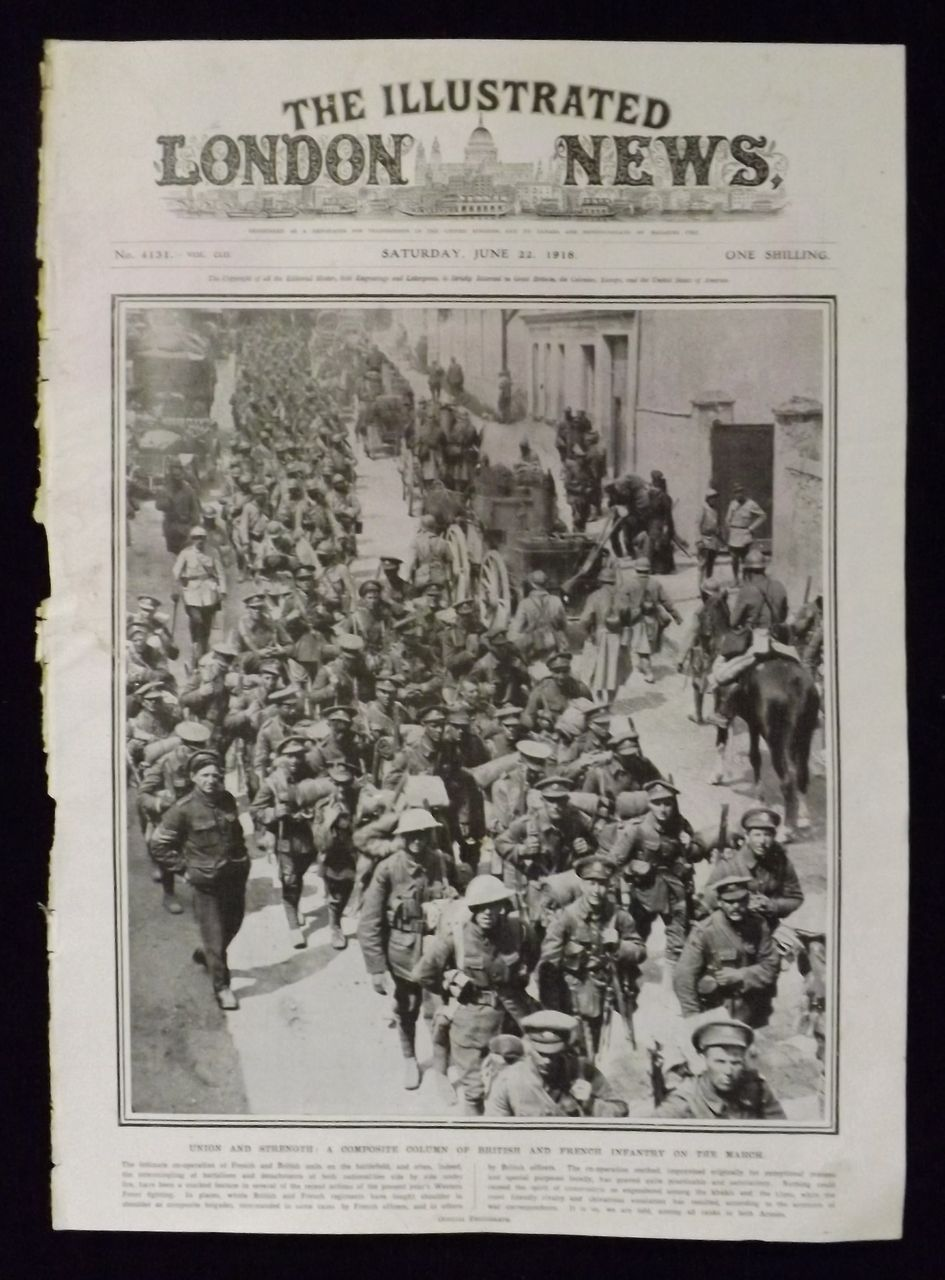 WWI -French & British Troops On The March -Illustrated London News 1918