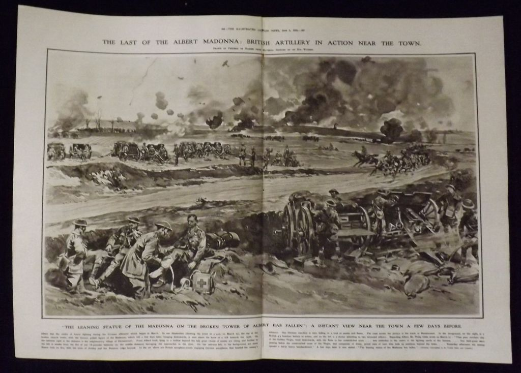 WWI - British Artillery in Action at Albert - London Illustrated News 1918