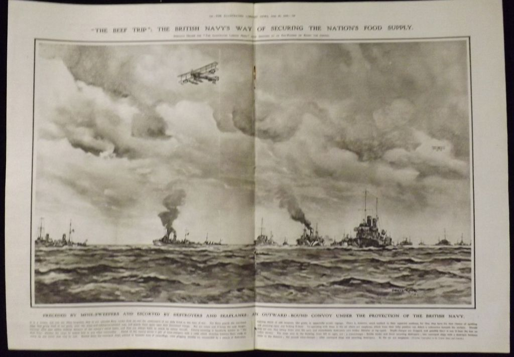 WWI -The Beef Trip Convoy -Illustrated London News 1918