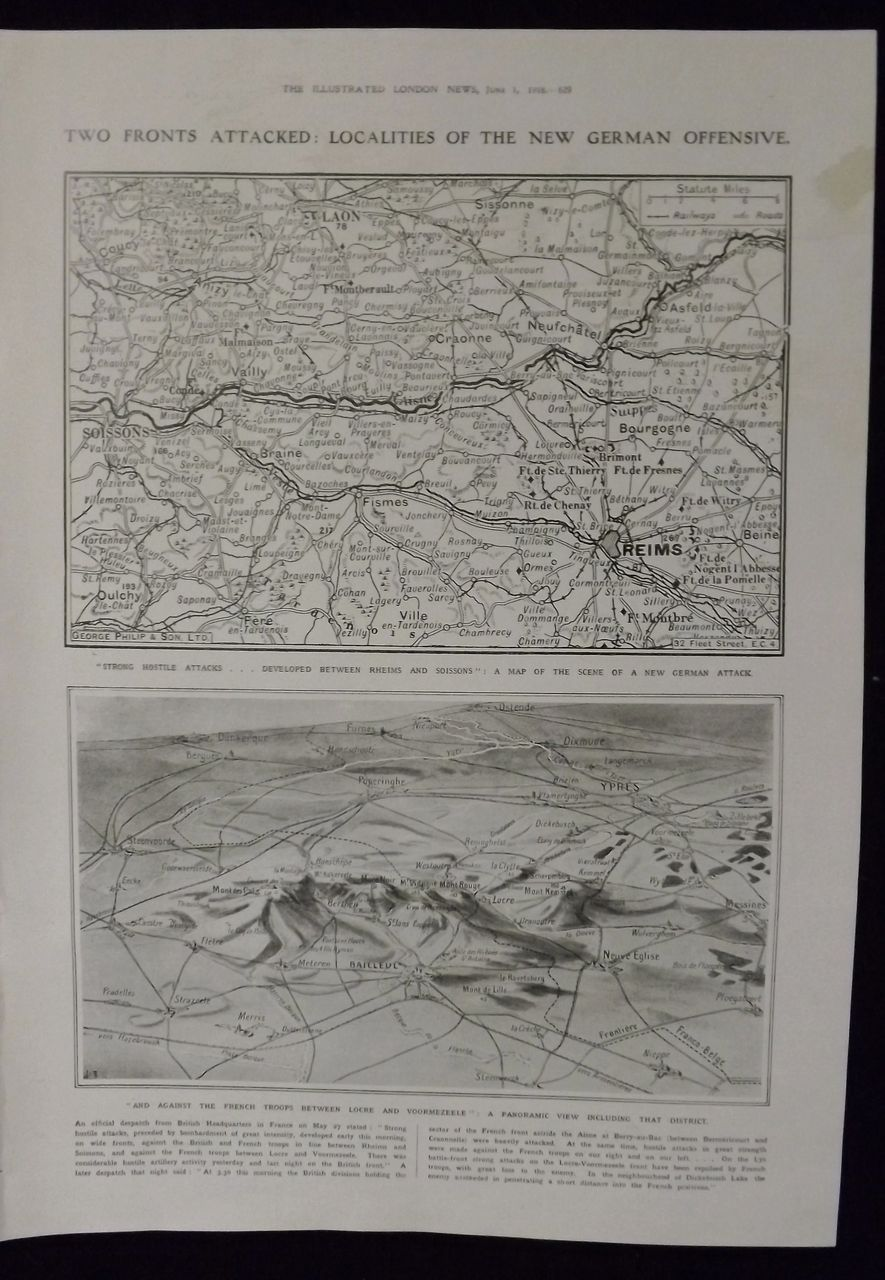 WWI -New German Offensive Maps -Illustrated London News 1918