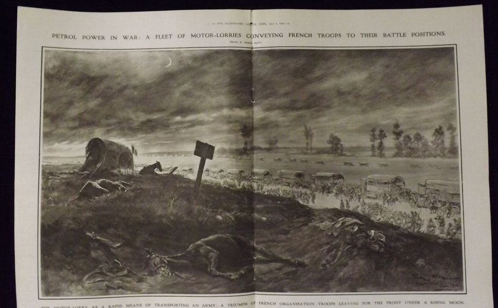 WWI - A Fleet Of Motor Lorries - Illustrated London News 1918