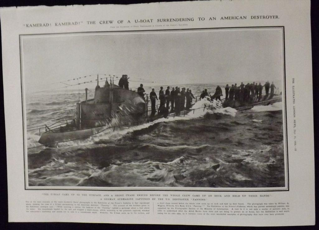 WWI - German U-BOAT Surrenders - Illustrated London News 1918