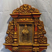 Peruvian Retablo Shrine of The Madonna -Circa Early 1900's