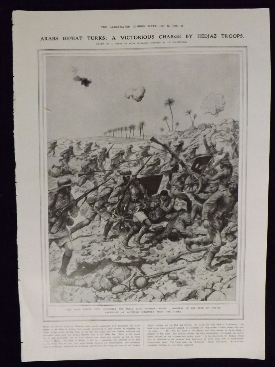 WWI - Arabs Defeat Turks - Illustrated London News 1918