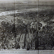 LIVERPOOL -Bird's-Eye View As Seen From A Balloon -The Graphic 1885