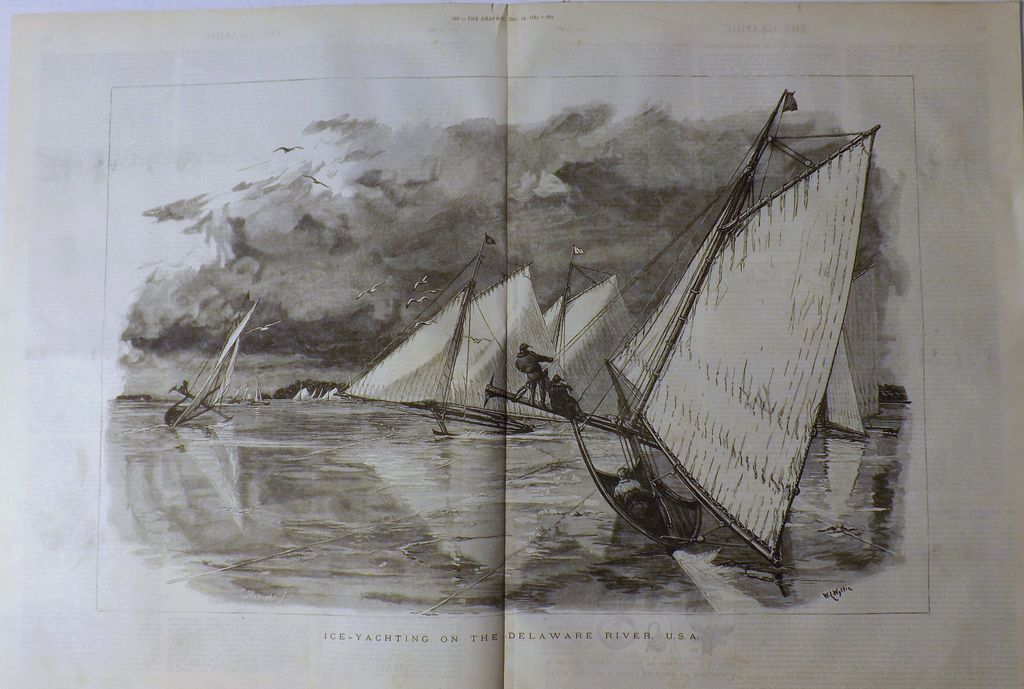Ice-Yachting On The Delaware River USA - The Graphic 1885
