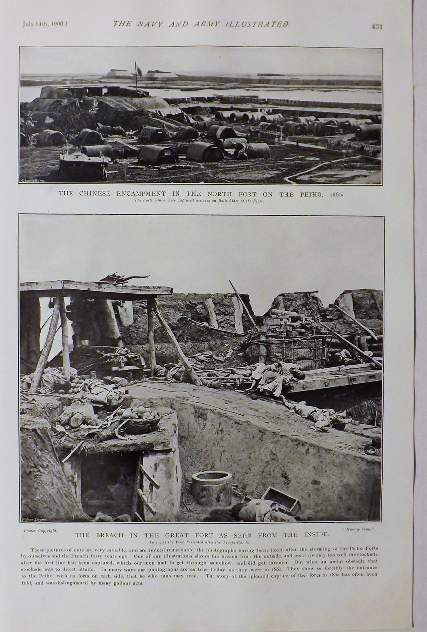 The Chinese Forts at PEIHO in 1860 -The Navy & Army Illustrated 1900