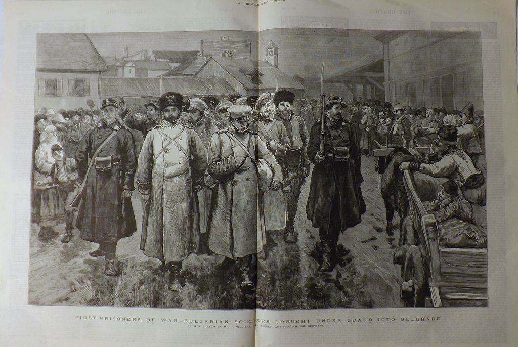 The Graphic 1885- Double-Page Spread Of The War Between Servia & Bulgaria