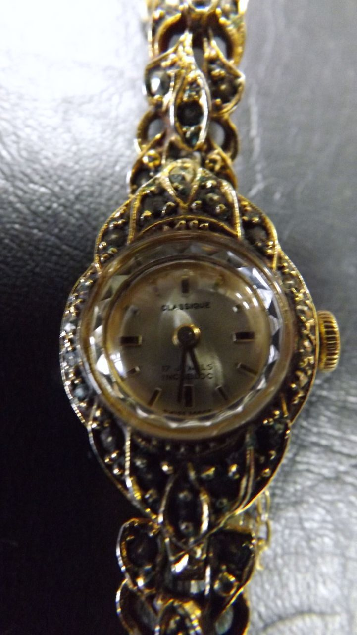 SWISS Gold Plated Ladies Marquesite Watch