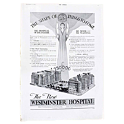 Art Deco 'NEW Westminster Hospital' Advertisement  - The Sphere 1936