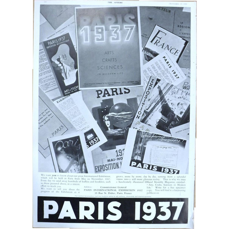 Art Deco 'PARIS 1937' Advertisement  - The Sphere 1936