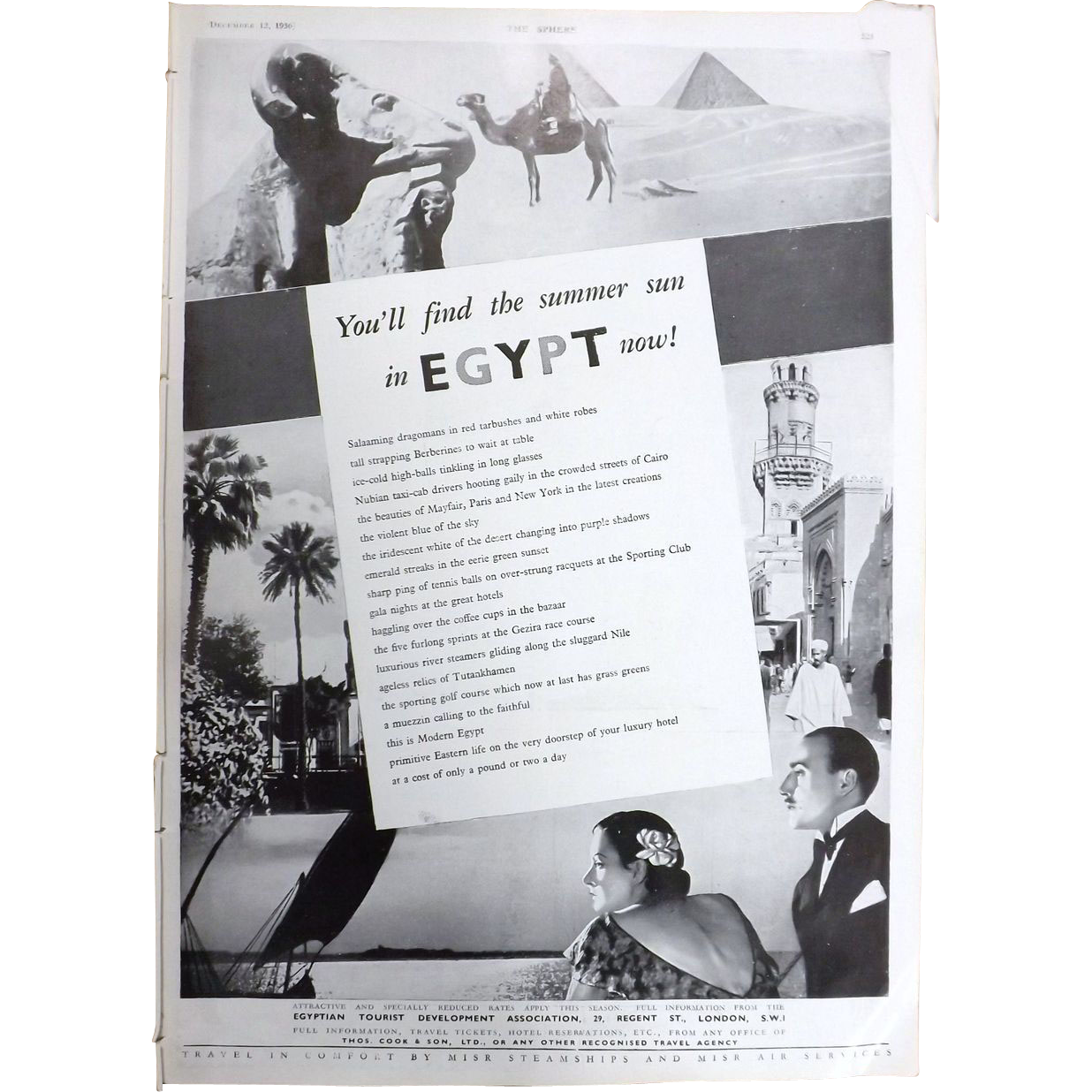 Art Deco 'EGYPT' Travel  Advertisement - The Sphere 1936