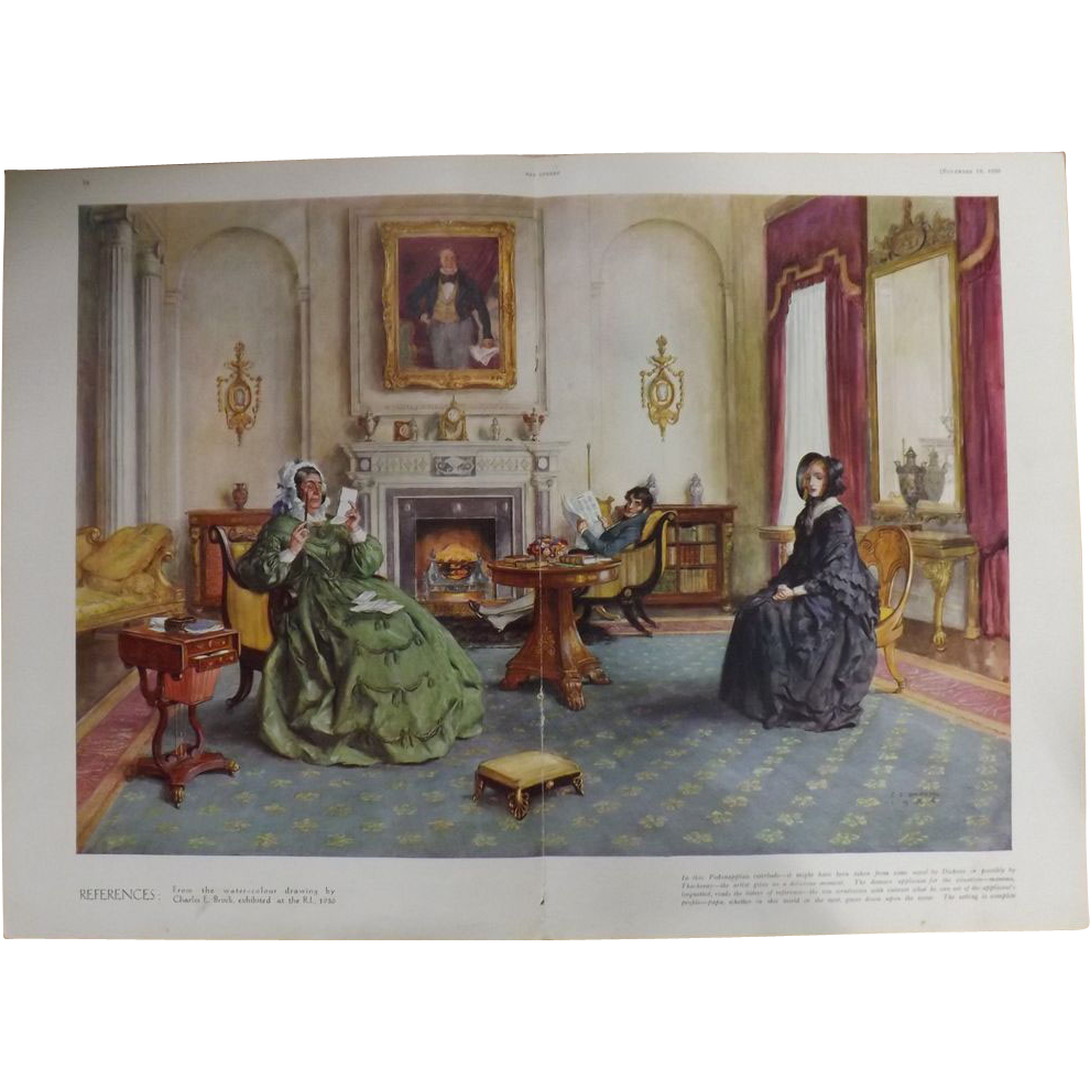 Double Page Print of Painting By C.E. BROCK....The Sphere 1936