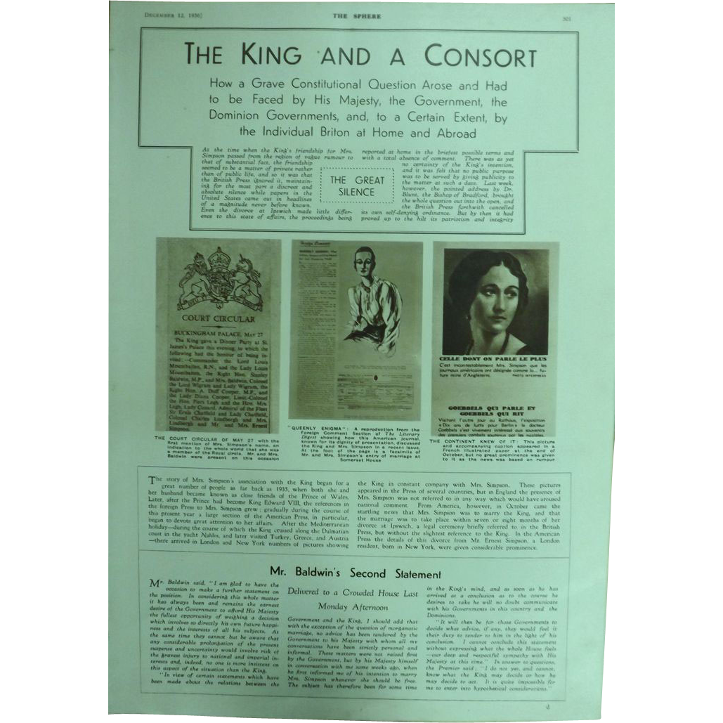 SPECIAL Feature.  The King & A Consort -The Sphere 1936