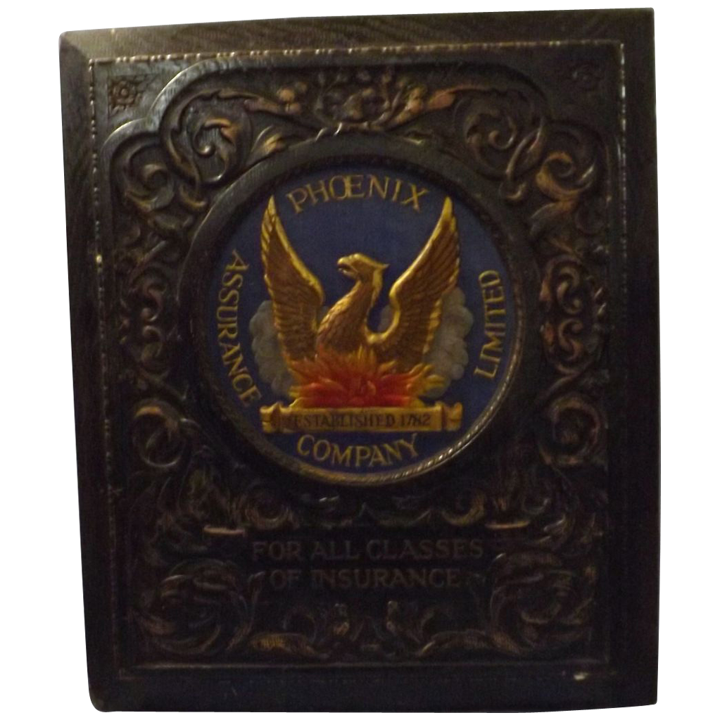 Phoenix Assurance - Old Pressed Tin Advertising Sign -Early 1900's