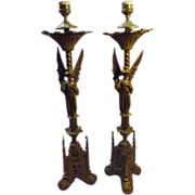 An Exceptional Pair of Victorian  'Gothic' Altar Candle Sticks