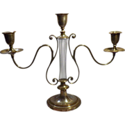 Elegant Old Lyre Shaped Candelabra - Early 1900's