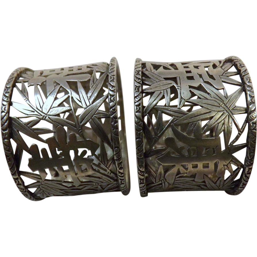 Cum Wo Chinese Export Silver Napkin Rings Pair Circa 1880-1900