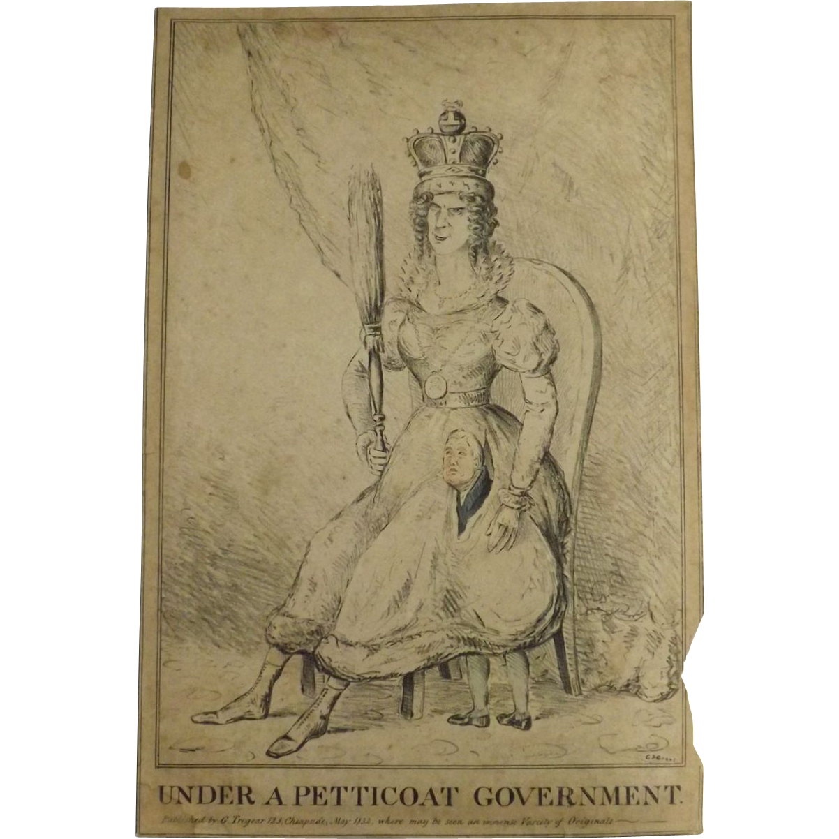 English Political Cartoon 1832 Under A Petticoat
