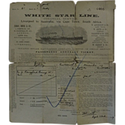 White Star Line Passenger Ticket - S.S. SUEVIC 1909