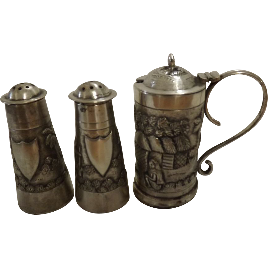 Anglo Indian Silver Condiment Set Circa 1880-1900