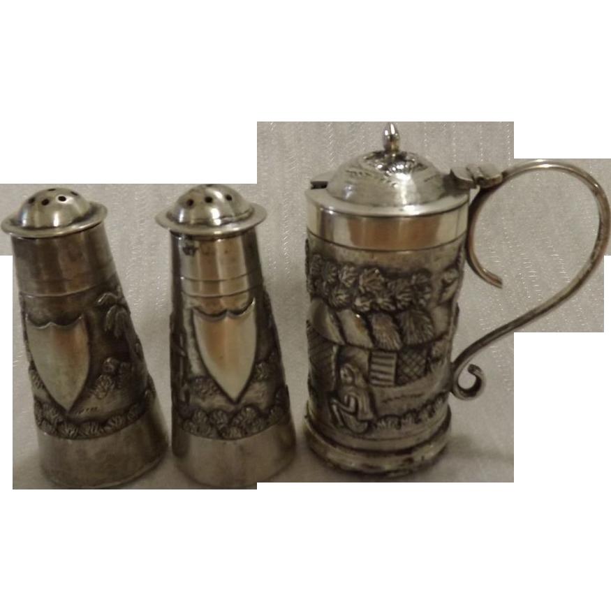 Anglo Indian Silver Condiment Set Circa 1880-1900
