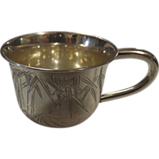 Japanese Meiji Period Solid  Silver 950 Grade Cup