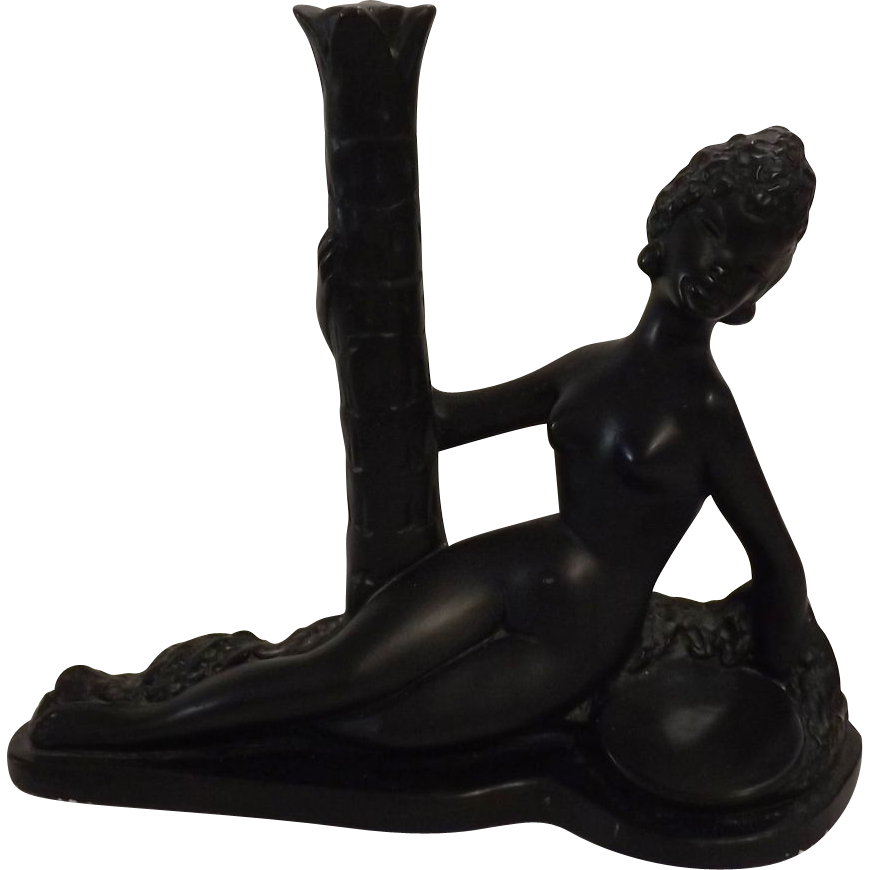 Retro Black Girl Plaster Figurine Circa 1960