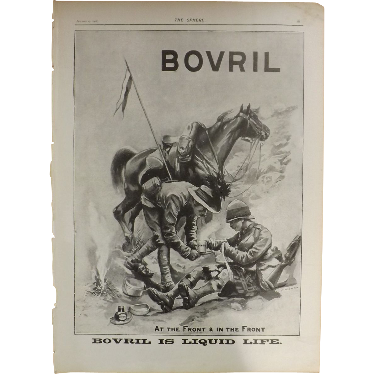 Original BOVRIL Advertisement with Boer War Theme - The Sphere Oct.1900