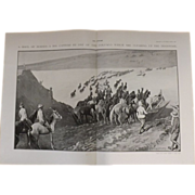 Original  Double Page Boer War 'A haul of Horses'  - The Sphere Aug. 1901