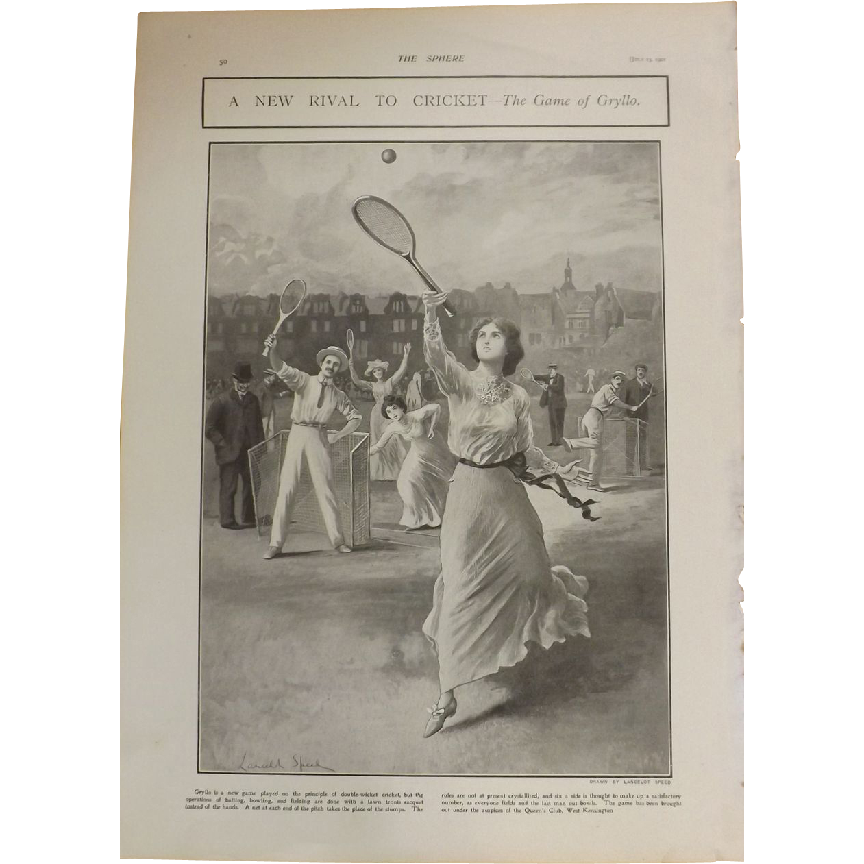 Original  Page 'A  New Rival To Cricket -The Game of Gryllo' - The Sphere Jul.1901