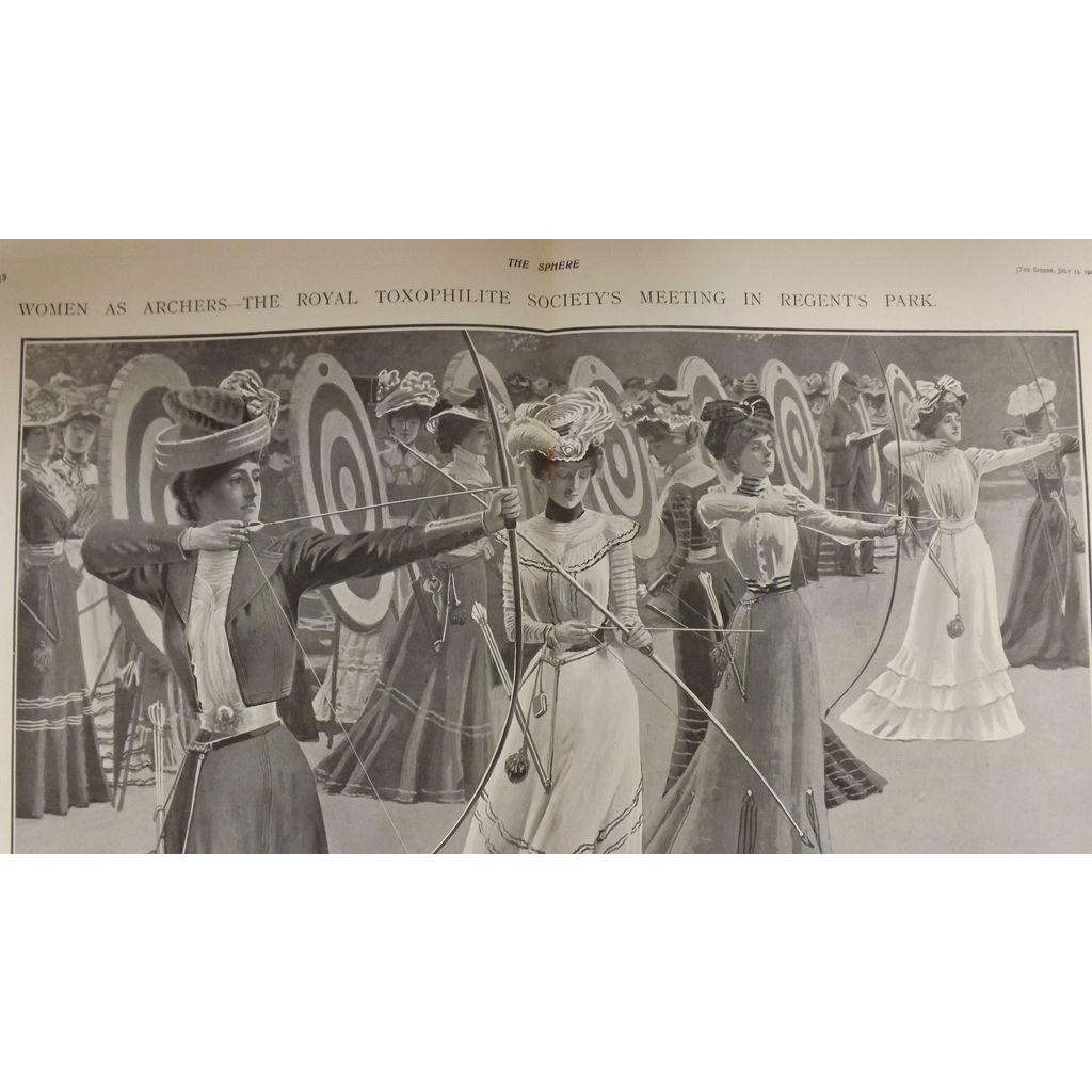 Original  Double Page 'Women As Archers' - The Sphere Jul. 1901